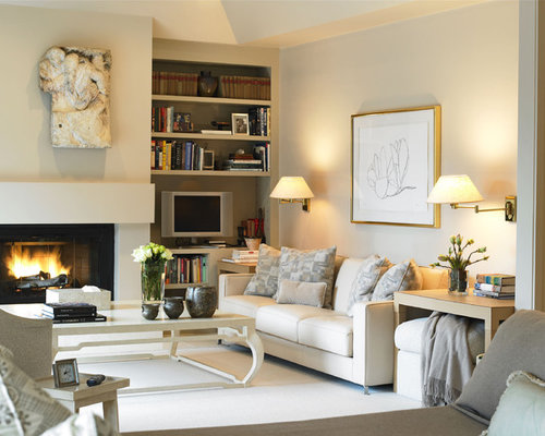 Example Of A Mid Sized Transitional Formal And Enclosed Carpeted Living  Room Design In Boston