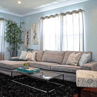 Idee per un piccolo soggiorno classico aperto con pareti blu, pavimento in legno massello medio e TV a parete