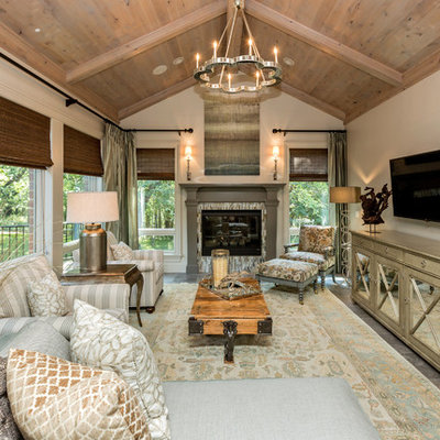 Transitional formal living room photo in Other with beige walls, a standard fireplace, a tile fireplace and a wall-mounted tv