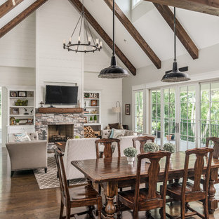 Example Of A Transitional Open Concept Dark Wood Floor Living Room Design  In Nashville With White