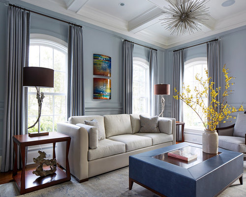 transitional living room design ideas remodels photos with blue