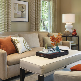 Living room - transitional living room idea in Boston with beige walls