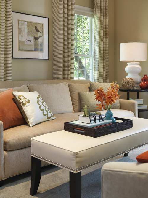 Charming Transitional Living Room Idea In Boston With Beige Walls Part 25