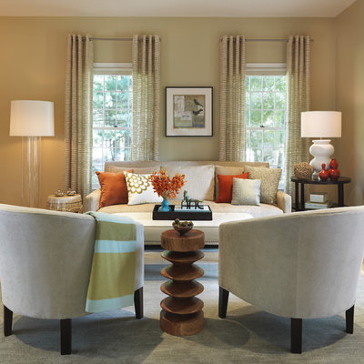 Mid-sized transitional living room photo in Boston with beige walls