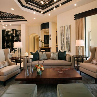 Living room - large transitional formal and open concept ceramic floor living room idea in Miami with beige walls and no tv