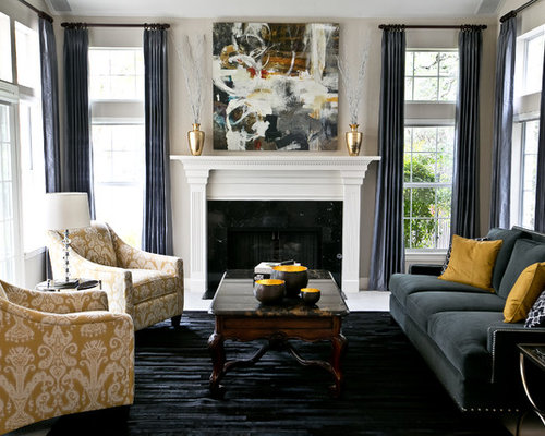 Transitional living room houzz for Transitional living rooms