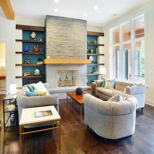 Idéer för att renovera ett mellanstort vintage allrum med öppen planlösning, med blå väggar, mörkt trägolv, en standard öppen spis och ett finrum