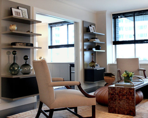 Inspiration For A Transitional Living Room Remodel In Chicago With White Walls