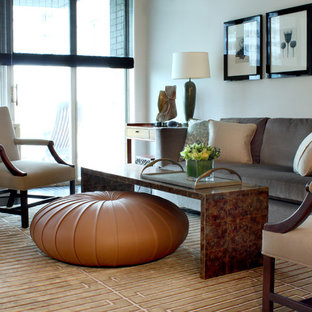 Transitional living room photo in Chicago with white walls