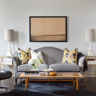 Inspiration for a transitional formal and enclosed dark wood floor living room remodel in Chicago with gray walls