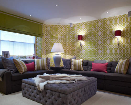This Is An Example Of A Classic Living Room In London With Green Walls And  Medium