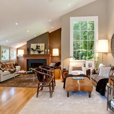Transitional orange floor living room photo in San Francisco with beige walls