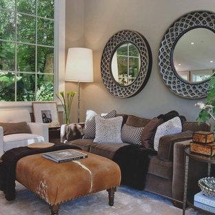 Modelo de salón clásico renovado con paredes grises
