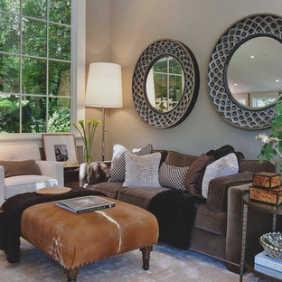 Living room - transitional living room idea in San Francisco with gray walls
