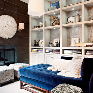 Example of a small transitional living room library design in Toronto
