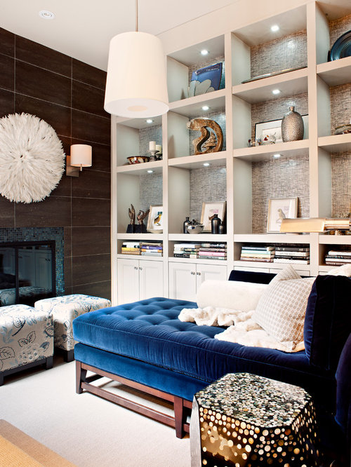 Ex&le of a small transitional living room library design in Toronto : blue velvet chaise lounge - Sectionals, Sofas & Couches