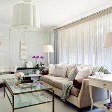 Transitional Living Room by Elizabeth Metcalfe Interiors & Design Inc.