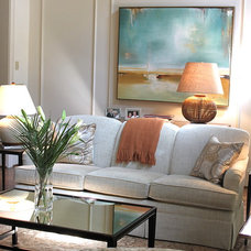 Transitional Living Room by Valerie DeRoy Interiors, LLC