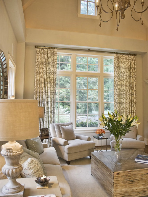 Vaulted ceiling window treatments home design ideas for Neutral living room decor