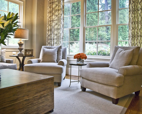 Modern Classic Elegant Medium Tone Wood Floor Living Room Photo In Atlanta With Beige Walls