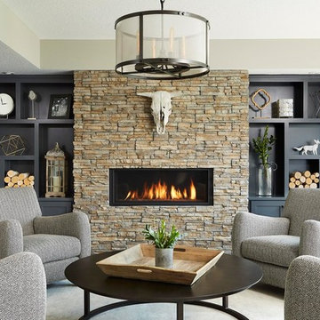 Transitional Living Room With Modern, Rustic, and Western Elements