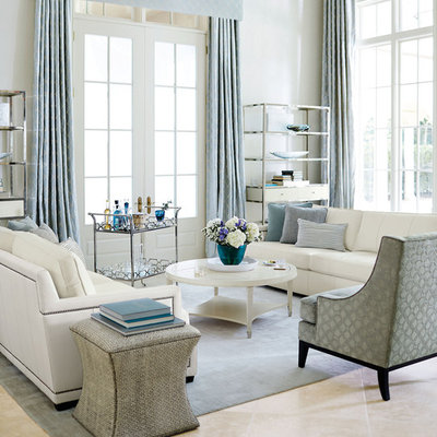 Inspiration for a mid-sized transitional formal and open concept living room remodel in Other with white walls and no tv