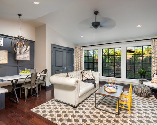 Large Transitional Open Concept Dark Wood Floor And Brown Living Room Photo In Phoenix With