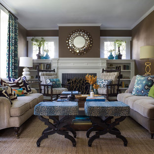 Inspiration for a classic living room in San Francisco with brown walls.