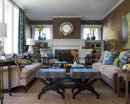 Turquoise And Brown Living Room | Houzz