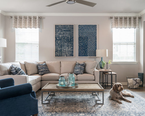 Inspiration For A Transitional Dark Wood Floor And Brown Floor Living Room  Remodel In Dallas With
