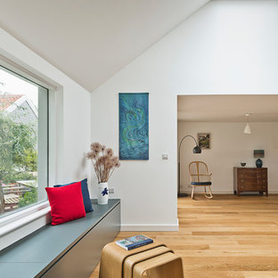Small minimalist enclosed living room photo in Cambridgeshire with white walls and a wood stove