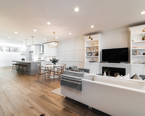 Inspiration For A Mid Sized Transitional Open Concept Medium Tone Wood Floor And Brown