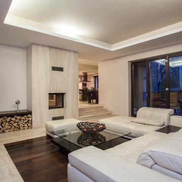 Travertine Fireplace and Travertine & Wood Mix Flooring