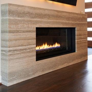 Travertine surround fireplace