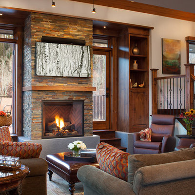 Mountain style living room photo in Denver with a standard fireplace and a stone fireplace