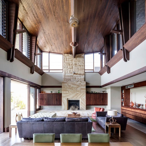 High ceilings houzz for Living room ideas high ceilings