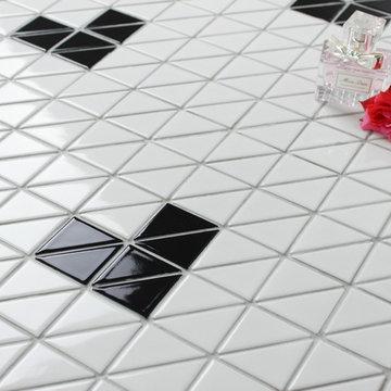 Triangular Heart Shape Pattern Porcelain Mosaic Tile, Floor design