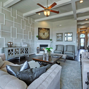 Design ideas for a large traditional formal open concept living room in Austin with white walls, dark hardwood floors, a corner fireplace and a wall-mounted tv.