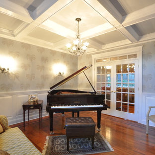 Elegant living room photo in New York with a music area