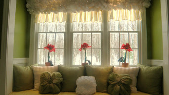 Triple double-hung windows creating a beautiful window seat space