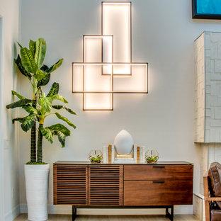 Mid Sized Trendy Open Concept Light Wood Floor And Beige Floor Living Room  Photo With