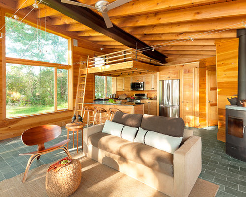 Small Rustic Open Concept Gray Floor And Slate Living Room Idea In Portland Maine With