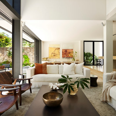 Living room - contemporary formal and open concept living room idea in Sydney with white walls, no fireplace and no tv