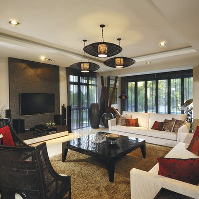 Example of a huge island style living room design in Other with beige walls, no fireplace and a wall-mounted tv