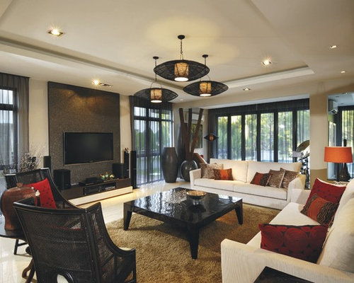 Example Of A Huge Island Style Living Room Design In Other With Beige Walls  And A