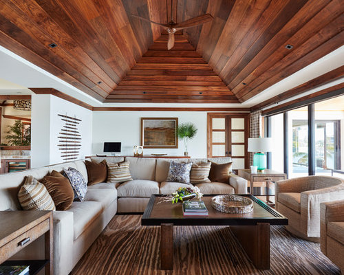 Mid Sized Tropical Formal Open Concept Living Room Idea In Miami With White Walls