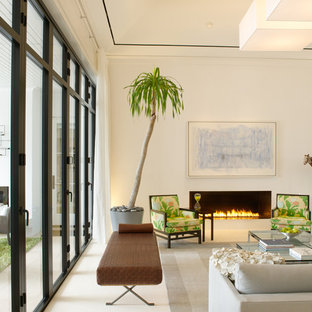 Living room - tropical formal and enclosed living room idea in Miami with white walls, a ribbon fireplace and no tv