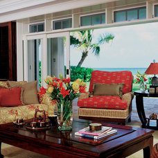 Tropical Living Room by Peter Vincent Architects