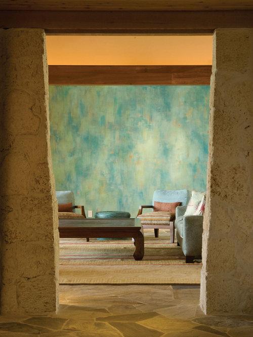 Island Style Slate Floor Living Room Photo In Hawaii Part 80