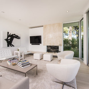 Example of a trendy light wood floor and beige floor living room design in Los Angeles with white walls, a standard fireplace, a stone fireplace and a wall-mounted tv